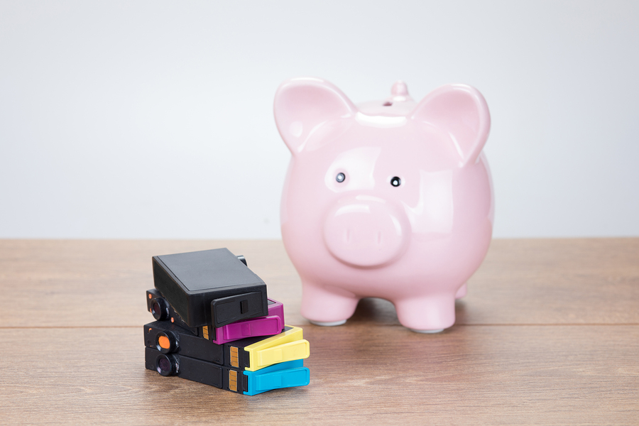Ping Piggy Bank With Empty Printer Ink Cartridges
