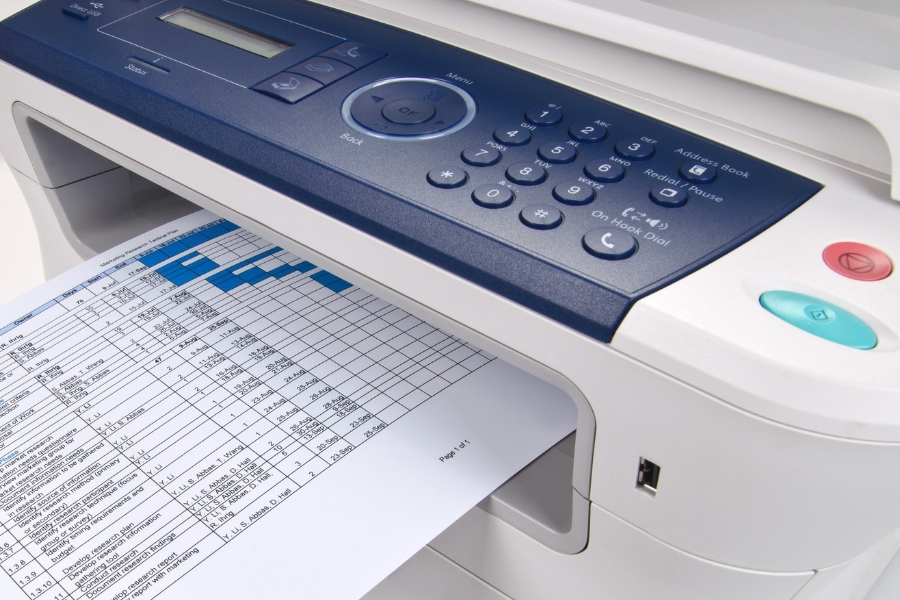 Laser printer printing spreadsheet in an office