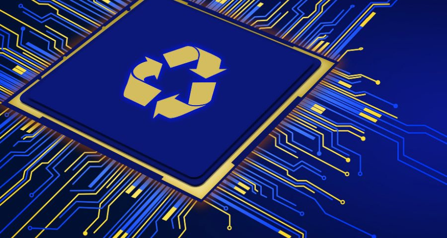 Recycling sign on a microchip