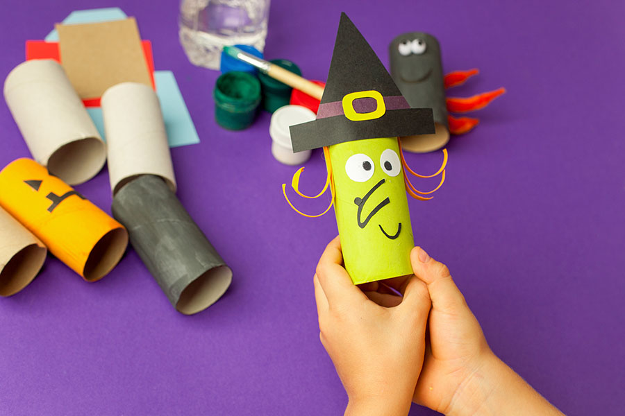 Boy Makes Halloween Toys From Paper. Toilet Roll Tube By Hands.